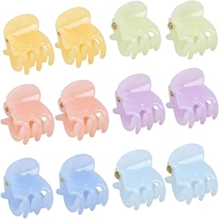 TRIXES Set of 12 Hair Claws – Miniature Styling Grips Pin Clamps – 6 Assorted Pastel Colours
