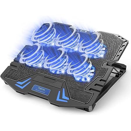『2021新登場・強冷超静音冷却ファン』ノートパソコン冷却パッド 冷却台 6つ冷却ファン搭載 5段階高度調整可 風量調節可 ノートPCクーラー 大風量・低騒音 2つUSBポート付 メタルメッシュデザイン 滑り止め付き ledストリップライト付 9-17インチまでのノートPC/Macbook/Macbook Pro/PS3/PS4等に対応 オフィス/在宅勤務/出張などに適用 日本語取扱書付 ブラック
