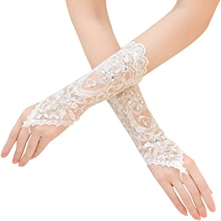 ShangShangXi Fingerless Lace Bridal Wedding Gloves with Crystal Beaded Sequins Evening Gloves Women