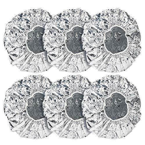 6 piezas de tapas de papel de aluminio, tapas de ducha Segbeauty para acondicionamiento profundo Goma elástica reutilizable para el acondicionador Penetración Spa termal - Plata