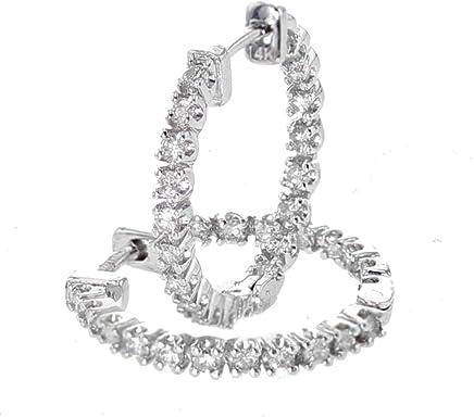 14K White Gold Diamond Earrings Hoop Earrings 18mm Round DiamondHoops Womens 2/3ctw Inside Out Earrings