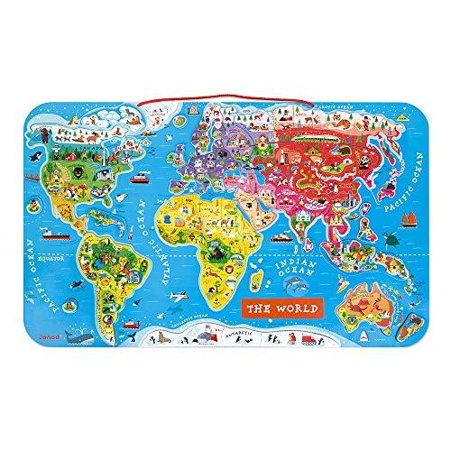 Janod J05504 Puzzle Magnetische Landkarte Die Welt aus Holz 92 Teile, Englisch