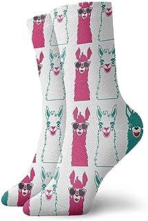 Dydan Tne, Niños Niñas Locos Divertidos Lindos Divertidos Divertidos Sunglassess Llama Rosa Calcetines Verdes Lindos Calcetines de Novedad