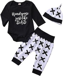 T TALENTBABY T TALENTBAB Kleinkind Neugeborenes 3-teiliges Baby-Jungen-Kleidungsset Lang- / Kurzarm-bedruckter Bodysuit-Strampler  Hosen  Hut, Baby-Jumpsuit-Outfits-Strampler für Kleinkinder