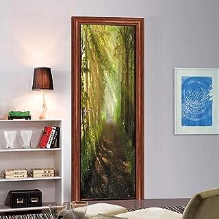 CUGBO Door Wallpaper Murals 3D Forest Scene Door Wall Stcikers Self Adhesive Vinyl Removable Art Door Decals for Home Decoration