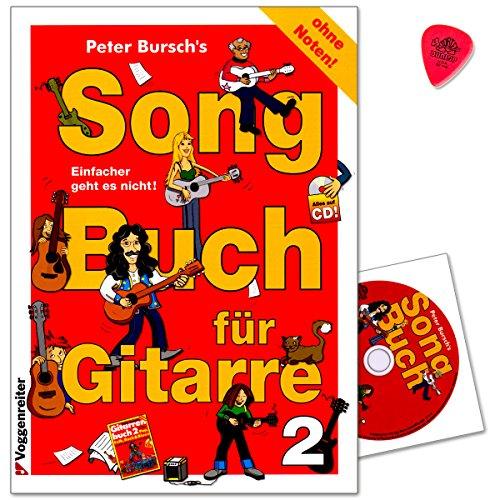 Peter Bursch's Songbuch für Gitarre 2 - Ohne Noten! - Die Songs sind in leicht singbare Tonarten transponiert und mit allen Griffen und Spieltechniken - Notenbuch mit CD, PLEK 9783802404542