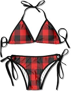 Red Buffalo Plaid Swimsuits Bikinis Thong Swimsuit for Beach Beach Swimming