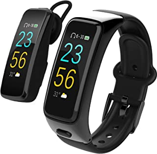 Fitness Track,Wireless Bluetooth Headset with Microphone for Music/Driving Calling,Smart Watch with Pedometer Blood Pressure Heart Rate 7 Sports Mode Calorie Distance Tracker SMS Remind for Men Women