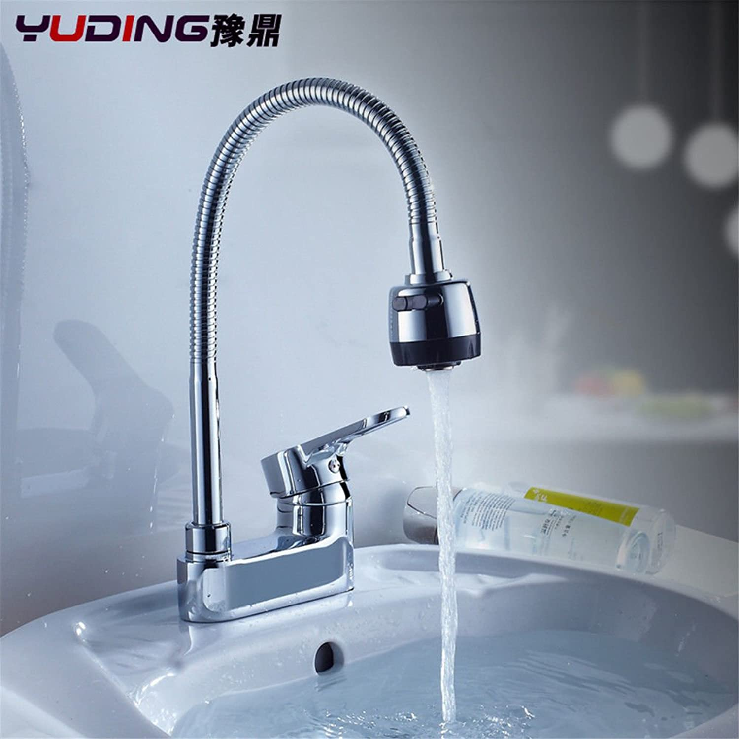 ETERNAL QUALITY Bathroom Sink Basin Tap Brass Mixer Tap Washroom Mixer Faucet The copper 2-hole basin mixer to turn the cold water faucet basin basin mixer two holes 3 ho