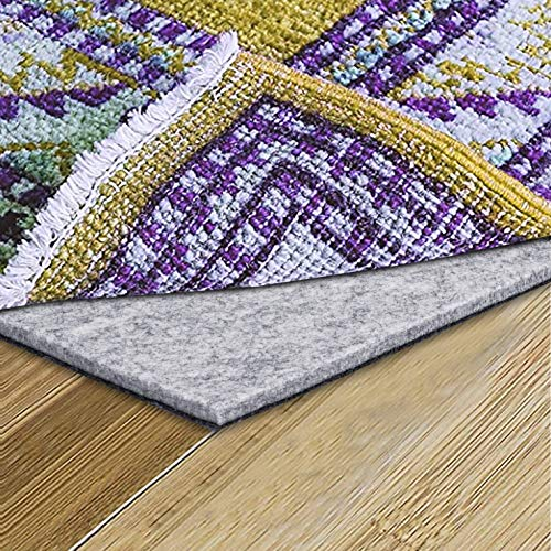 Sonic Acoustics Non Slip Soundproof Rug Pad 12x12x0.4inches, (Felt + Rubber) Double Layers Area Carpet Mat Tap, Provides Protection and Cushioning for Hardwood or Tile Floors