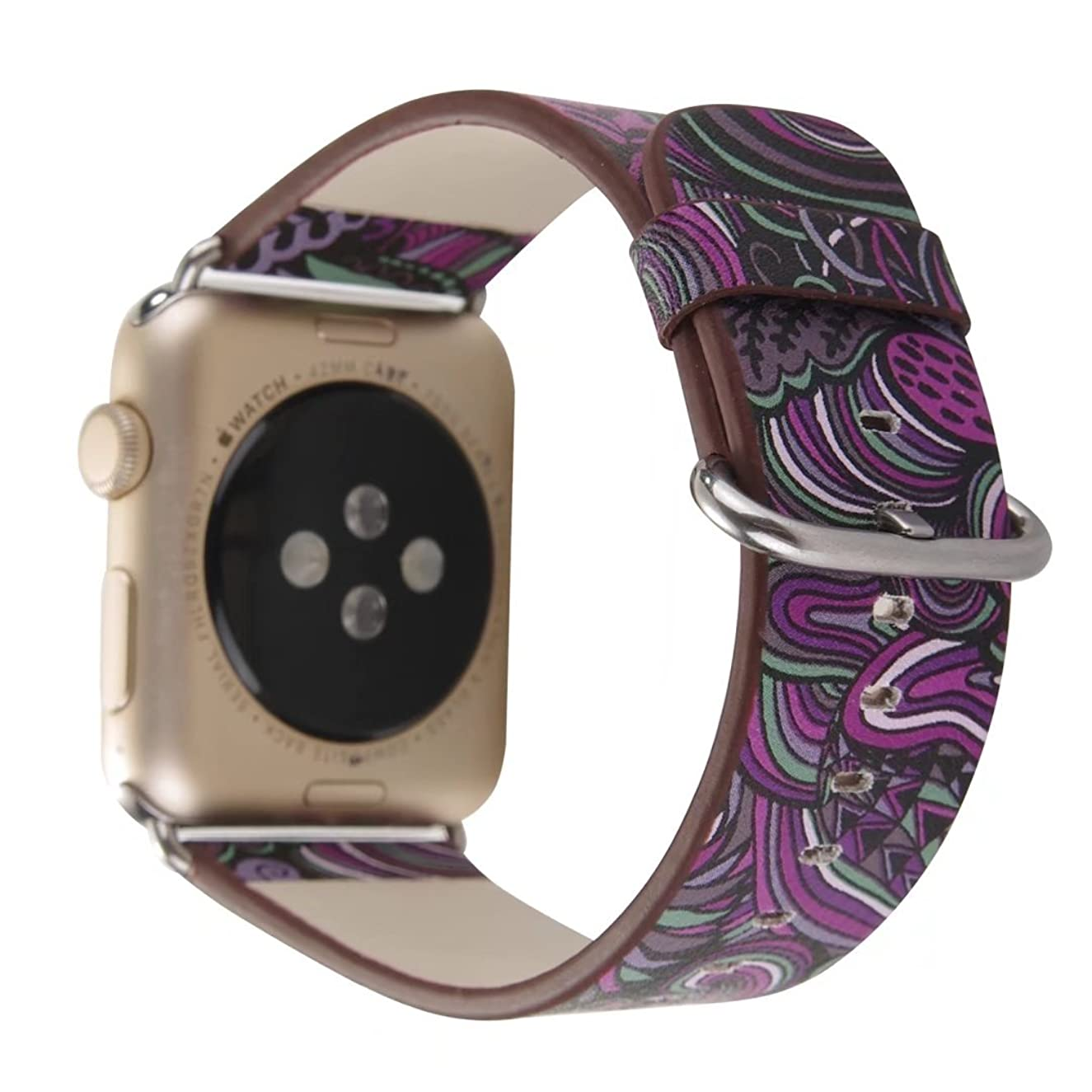 Ginamart Genuine Leather Flower Pattern Watch Bangle Bracelet Replacement Band Iwatch Strap for Apple Watch 38mm/42mm iWatch (Purple 38mm)