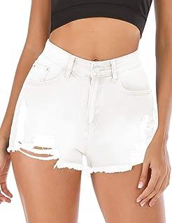 Haola Women's Juniors Denim Shorts Summer Stretchy Frayed Raw Hem Distressed Jeans Shorts