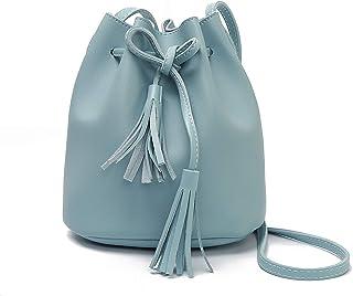 バッグショルダークロスボディバケットバッグ夏のタッセル女の人のバッグレザーハンドバッグ高級ハンドバッグ,青