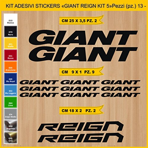 Adesivi Bici Giant Reign_Kit 5_ Kit Adesivi Stickers 13 Pezzi -Scegli SUBITO Colore- Bike Cycle pegatina cod.0861 (070 Nero)