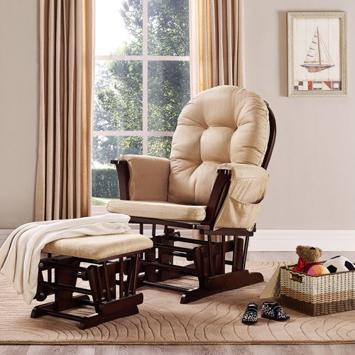 Baby Relax Harbour Glider Rocker and Ottoman Set - Beige - Nursery Furniture - Living Room Furniture's - Gliding Ottomans - Microfiber Upholstery - Button-tufted Backrest and Wide Seating with Overstuffed Cushions - 1 Year Limited Warranty