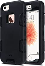 ULAK iPhone 5S Case Black, iPhone 5 Case,iPhone SE Case,Heavy Duty Shockproof Sport Rugged Drop Resistant Dustproof Protective Case Cover for Apple iPhone 5 5S SE -Black