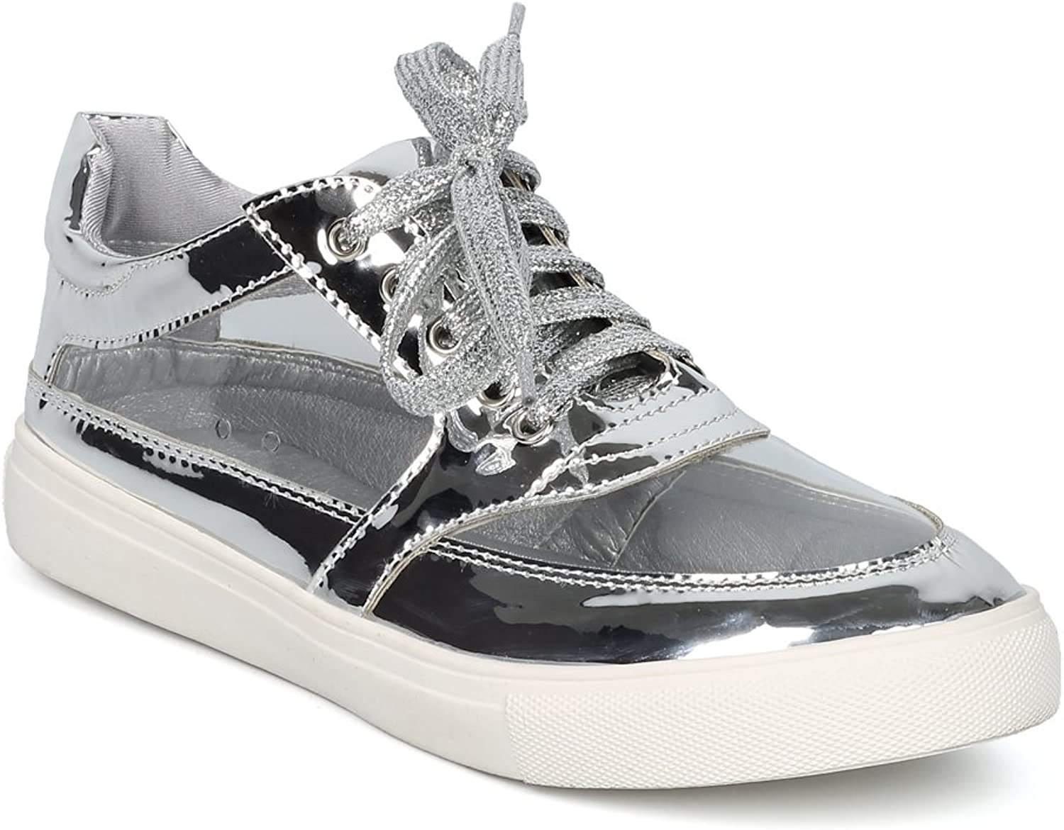 Alrisco Women Perspex Round Toe Lace Up Low Top Sneaker HC46