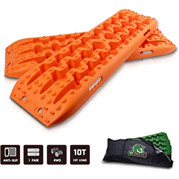 STEGODON New Recovery Traction Tracks with Bag(Set of 2), Recovery Traction Mats Sand Snow Mud Track Off Road Tire Ladder 4WD(Orange)