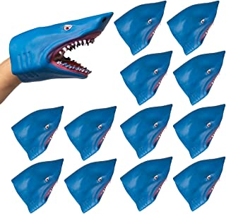 Barry-Owen Co. 12 Pack Shark Hand Puppet Toy Flexible Rubber Fun Party Favor for Kids Adults