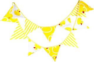 10 Feet Yellow Rubber Ducky Fabric Banner Bunting Hanging Pennant Garland for Kids Teepee Tent Baby Shower Favor 1st Birthday Communion Christening Nursery Decoration
