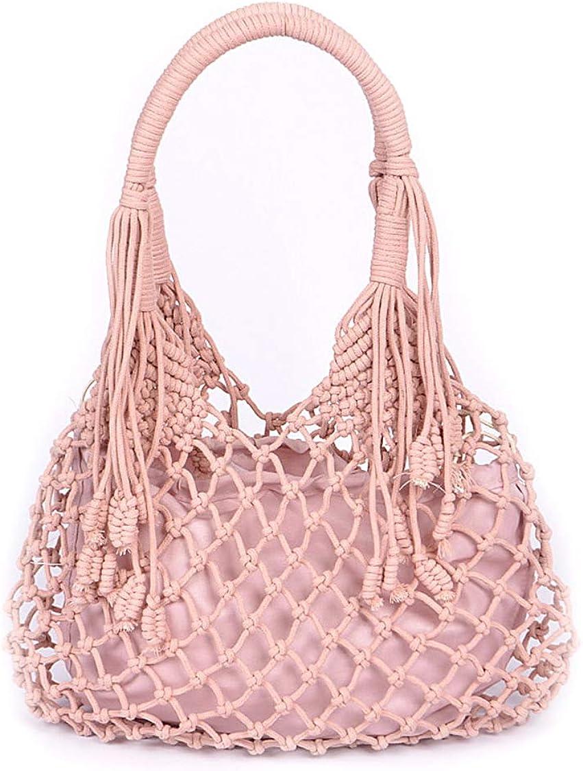 Pink Macrame Top Handle Boho Handbag with Detatchable Inner Bag