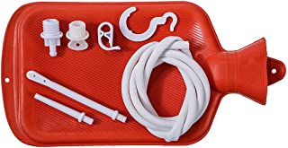 Rubber Douche/Enema Bag, Hot Water Bottle Combination System Kit for Men and Women, Reusable Colonic Kit Used for Coffee and Water Colon Cleansing & Manual Pressure Enema (Red)