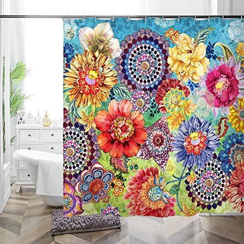 MACOFE Floral Boho Shower Curtain Set with Hooks,Colorful Bohemian Bathroom Curtain,Beautiful Bright Fabric Cloth Curtain for Bathroom Decor Mutiple Size