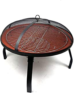 Portable Folding Round Household Charcoal Heating Brazier Carbon Stove, Wood Burning |Mesh Spark Screen, Wood Grate, Cooki...