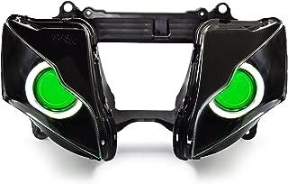 KT LED Angel Eye Headlight Assembly for Kawasaki Ninja ZX-10R 2011-2015 V1-A (Round) Green Demon Eye