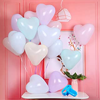 Loves Town 100pcs Pastel Balloons Set, 10inch Latex Balloons Heart-Shaped Balloon Party Balloons 2 Balloon knotter Balloon Accessories for Wedding Graduation Party