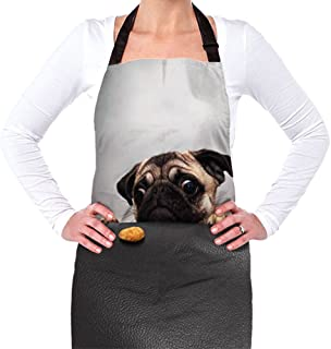 Coloranimal Funny Pug Animal Bistro Reataurant Chef Aprons for Baking Grillng