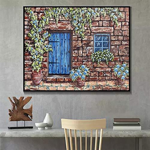 DIY Pintar por números ArteResumenpinturaJardínPaisajearteimagen pintura por números para adultos sobre lienzo Con pincel y pintura acrílica Kits Theme Digital Home Wall Artwo40x50cm(Sin marco)