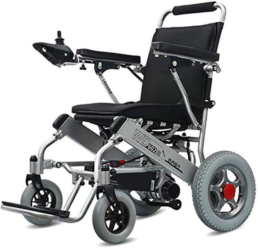 KAD Silla de ruedas eléctrica Batería de litio de seguridad (20A) Silla de ruedas eléctrica, plegable y liviana, balancín 360 ¡ã Silla de ruedas plegable todo terreno Eléctrico Motor dual Sil