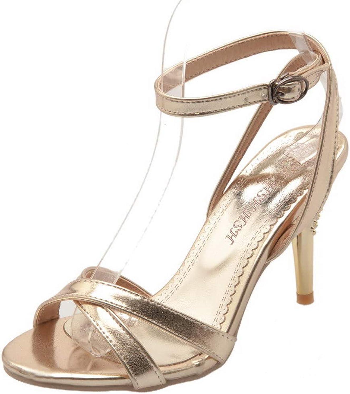 AmoonyFashion Women's Open-Toe PU High-Heels Solid Buckle Sandals