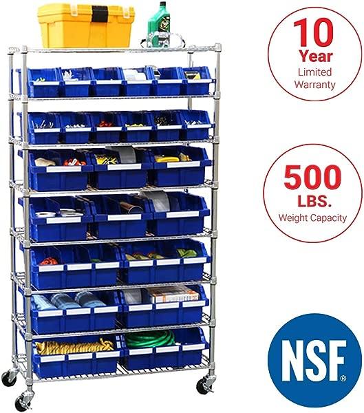 Seville Classics Commercial 8 Tier UltraZinc Blue NSF 24 Bin Rack Storage System