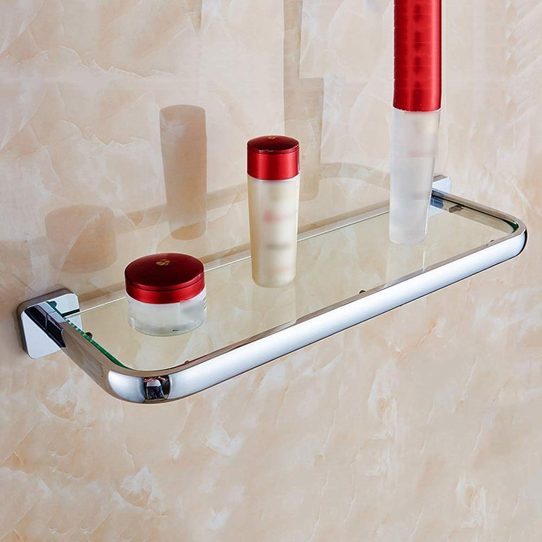 XSJJ Bathroom Shelf, Copper Dressing Table Bathroom Tempered Glass Shelf Wall Mount Bathroom Glass Shelf (color   Silver, Size   50x15.5x2.6cm)