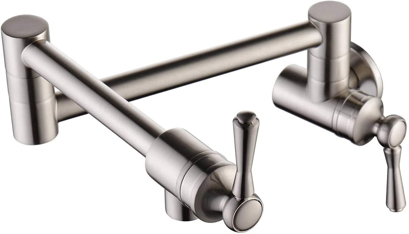 Dealing full price reduction BULUXE Max 48% OFF Pot Filler Faucet Wall Mount and Finish Brushed Si Nickel