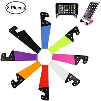 8 PCS Universal Pocket-Sized Colorful Portable Foldable V Model Mobile Phone Holder, SourceTon Desktop Stand Mount Ho...