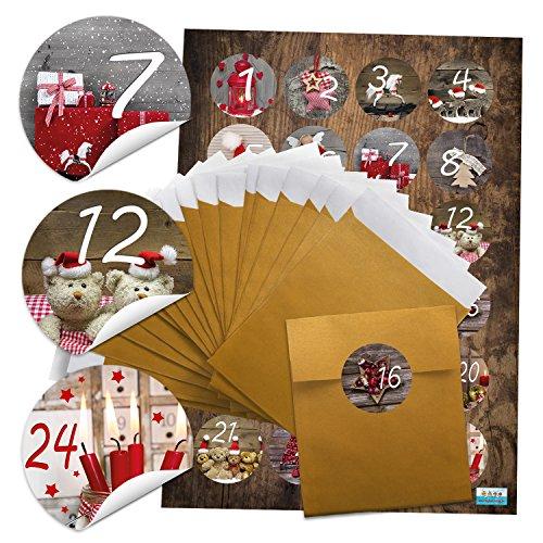 '2x 24bolsas de adviento de oro (9,5x 14cm) + 2x 24Foto Diseños Calendario de Adviento Números 4cm