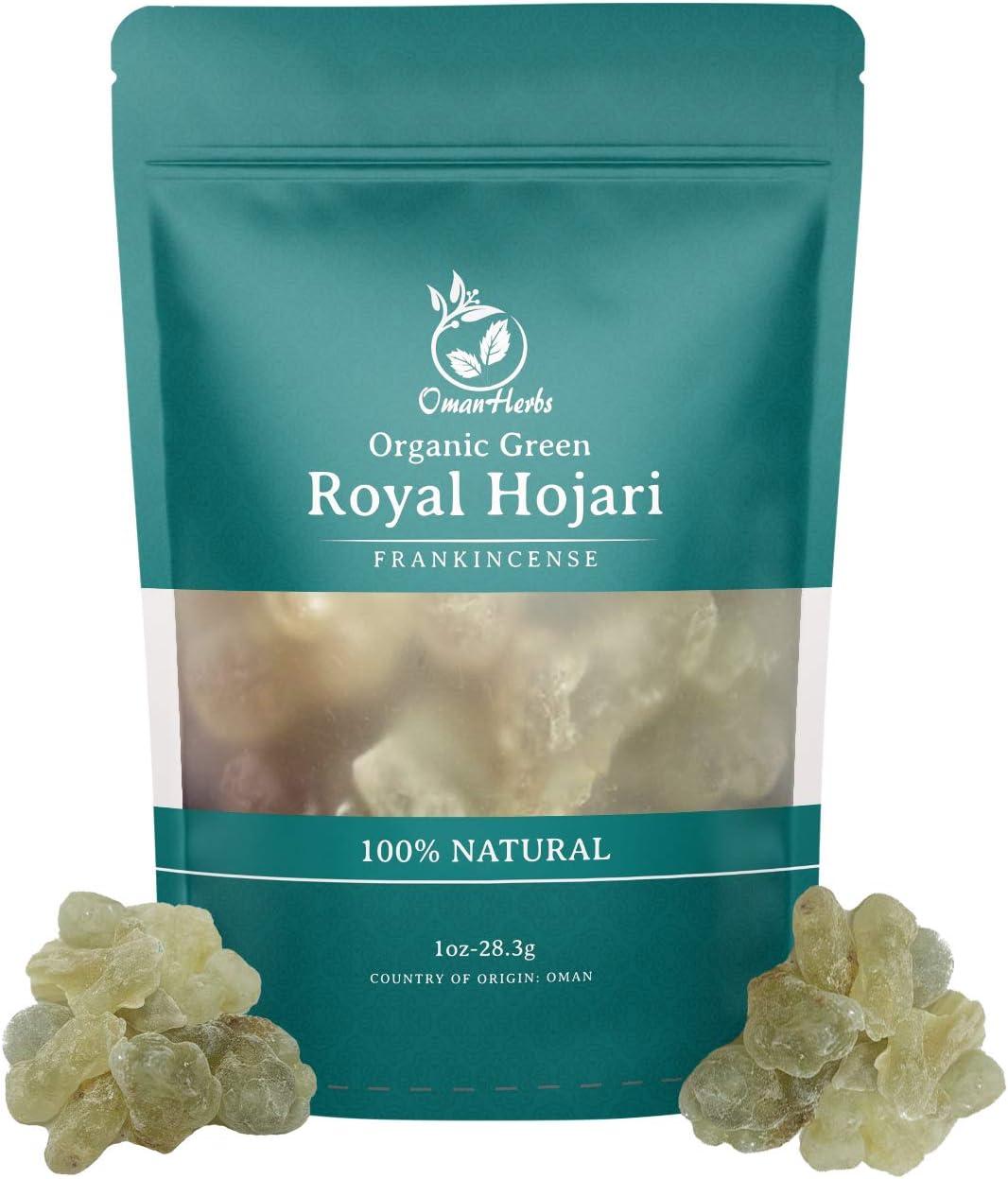 Oman Herbs Royal Green Frankincense Hojari from Oman Boswellia Sacra   Certified Healthy Pure Incense Resin Bulk (1 oz)