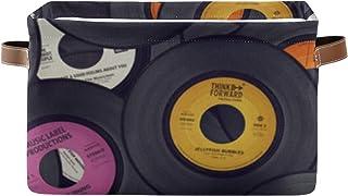 Paniers de rangement Disques vinyle Organisateur de placard à musique Boîte d'étagère avec poignée Paniers d'organisation ...