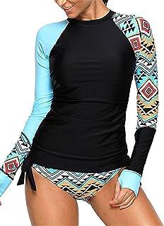 27107d47e7 BeneGreat Womens Long Sleeve Vibrant Print Side Ties Color Block Tankini  Swimsuit