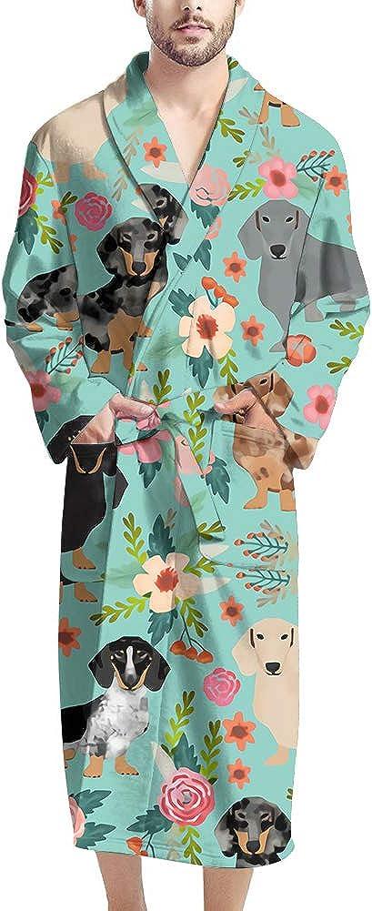 NDISTIN Floral Dachshund Pattern Robes Soft Shawl Bathrobe for Men and Women Couple Kimono Sleepwear Spa Lightweight Loungewear Nightgrown