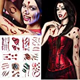 Temporay Tattoos, 10 hojas de diseño diferentes, Halloween Zombie Scars Tattoos Stickers con Fake Scab Blood Special Fx Body Makeup Props