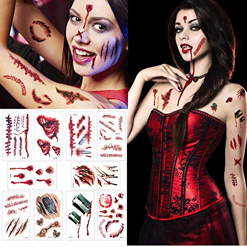 iXGLL Decoration Temporay Tattoos, 10 Hojas de diseño Diferentes, Halloween Zombie Scars Tattoos Stickers con Fake Scab Blood Special Fx Body Makeup Props