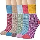 Loritta 5 Pairs Womens Wool Socks Thick Knit Vintage Winter Warm Cozy Crew Socks Gifts