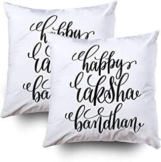 Musesh Kids Pillow Case, 18X18 Set of 2 Happy Raksha Bandhan Hand Lettering Calligraphy Inscription to Indian Holiday Greeting Car Throw Pillow Covers Cusion for Bed,Sofa,Car