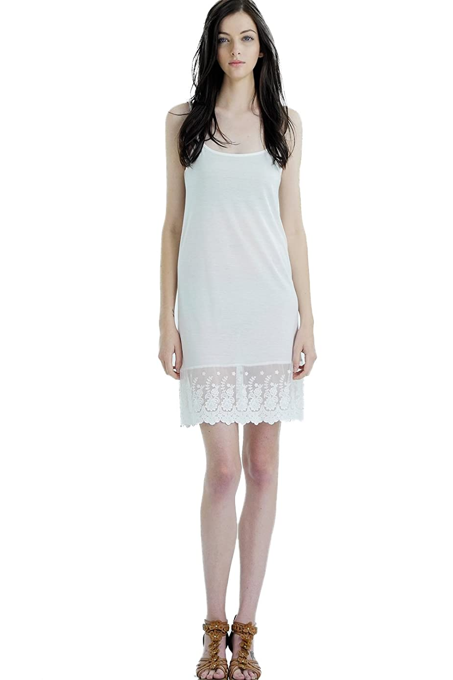 Women's Lace Knit Full Slip Extender for Short Dresses, Tunics and Sweaters