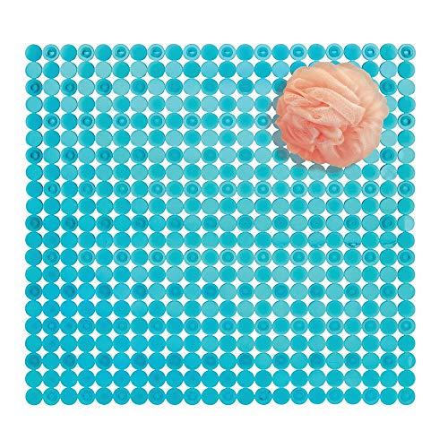 mDesign Alfombra de ducha de plástico PVC – Alfombra antideslizante rectangular para el baño con ventosas – Moderna alfombra de baño para ducha y bañera – azul