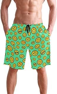 Men's Beach Swim Trunks Emoji Smiley Face Boxer Swimsuit Underwear Board Shorts with Pocket
